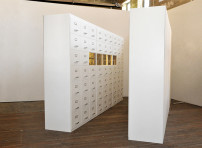 MDF, motor, barbed wire, timber, perspex, paint, handles, label holders, paper, TV screens, DVD players, fluorescent light    360x200x50 cm